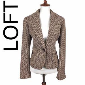 LOFT wool blend tweed blazer purple and tan